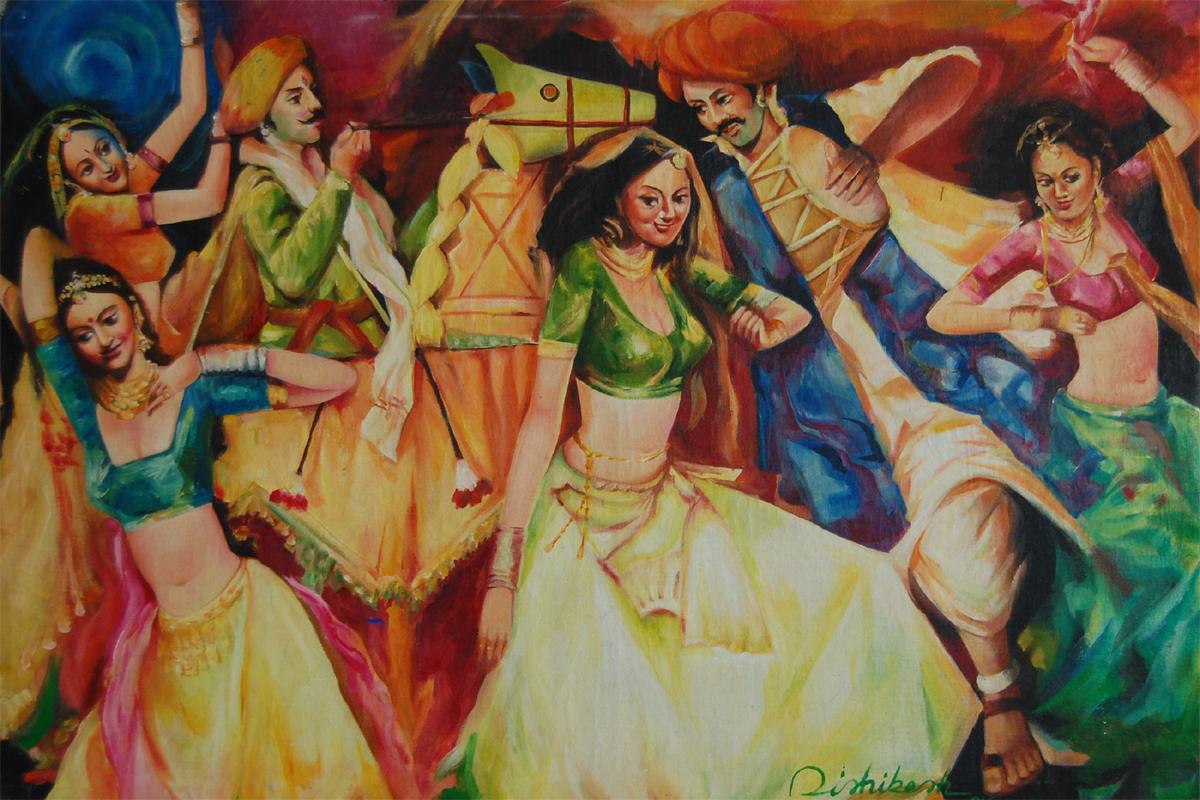 Kachi Ghodi 42'' X 29'' Horizontal Realistic Oil Painting
