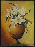 Flower Vase 19.5'' X 23'' Vertical Floral Oil Painting Framed