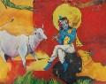 Krishna Bhagwan 32'' X 25'' Horizontal Religious Oil Paintingsssssssss