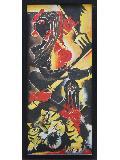 Maa Durga Framed 16'' X 36'' Vertical Religious Oil Painting