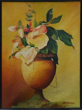 Flower Vase 20.5'' X 24'' Vertical Floral Oil Painting Framed